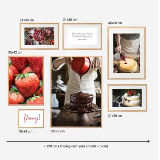 Marvelous Taste - Bộ 7 tranh khung kính gỗ sồi treo tường