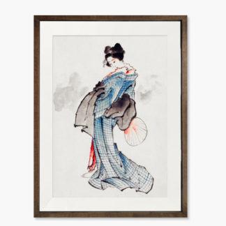 Geisha - Tranh khung kính gỗ sồi treo tường 30x42cm