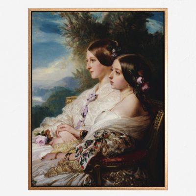 The cousins- Queen Victoria and Victoire, Duchesse de Nemours - Tranh canvas treo tường Franz Xaver Winterhalter