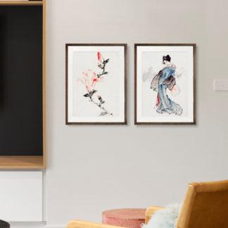 Pink Blossom - Tranh khung kính gỗ sồi treo tường 30x42cm