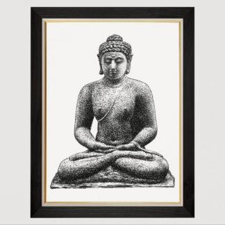 Buddha on the Borobudur (1891-1941) - Tranh in khung kính gỗ sồi 60x80cm