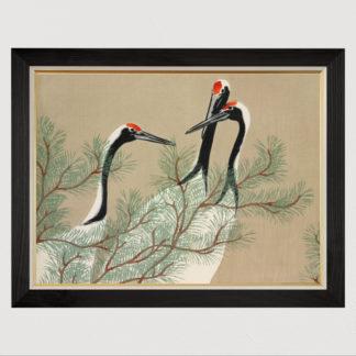Tam Hạc (1909) - Tranh in khung kính gỗ sồi Nhật cổ Danh họa Kamisaka Sekka 60×80cm