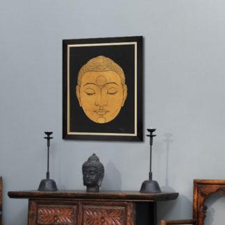 Head of Buddha (1943) - Tranh in khung kính gỗ sồi 60x80cm