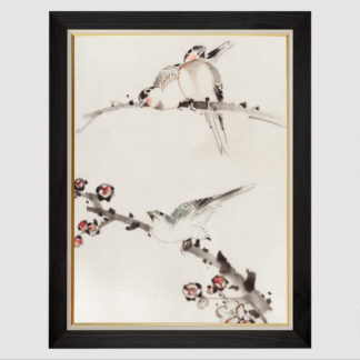 Three Birds Perched on Branches, One with Blossoms - Tranh in khung kính gỗ sồi Nhật cổ Danh họa Katsushika Hokusai 60×80cm