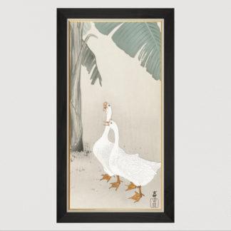 Two geese at banana tree (1900-1945) - Tranh in khung kính gỗ sồi Nhật cổ Danh họa Ohara Koson 50×100cm