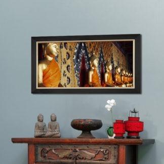 Line of budha - Tranh in khung kính gỗ sồi 50x100 cm