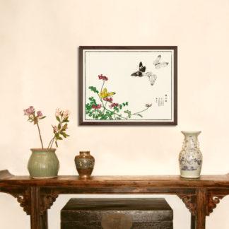 Butterflies and flower illustration from Churui Gafu (1910) - Tranh in khung kính gỗ sồi Nhật cổ Danh họa Morimoto Toko 56x45 cm