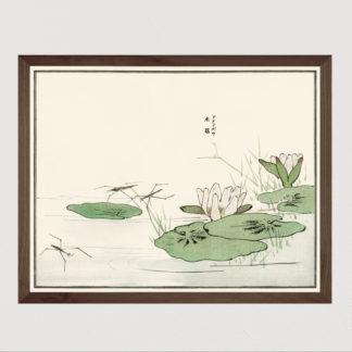 Suzumushi bell cricket - Tranh in khung kính gỗ sồi Nhật cổ Danh họa Morimoto Toko