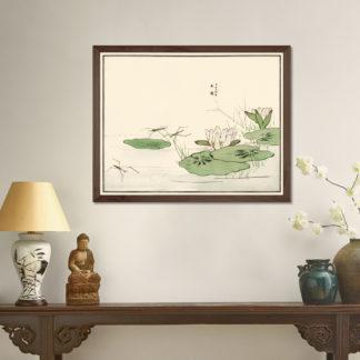 Water striders on a pond (1910) - Tranh in khung kính gỗ sồi Nhật cổ Danh họa Morimoto Toko 56×45cm