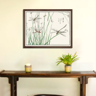 Dragonflies (1910)- Tranh in khung kính gỗ sồi Nhật cổ Danh họa Morimoto Toko 56×45cm