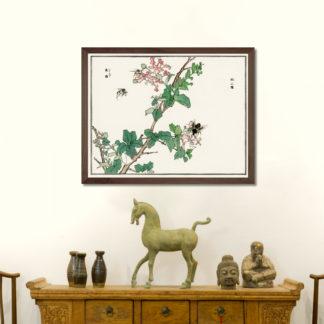 Horsefly (1910)- Tranh in khung kính gỗ sồi Nhật cổ Danh họa Morimoto Toko 56×45cm
