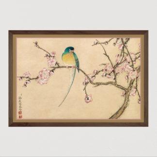 Tranh in khung kính gỗ sồi Nhật cổ Bird with Plum Blossoms (18th Century)