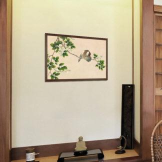 Gossiping Sparrows (18th Century) - Tranh in khung kính gỗ sồi Danh họa Zhang Ruoai (1713-1746) 60x80 cm