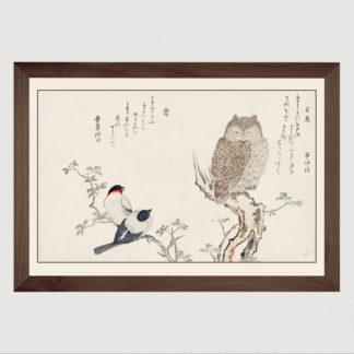 Mimizuku Uso - Tranh in khung kính gỗ sồi Nhật cổ Danh họa Utamaro Kitagawa (1753-1806) 60x80 cm