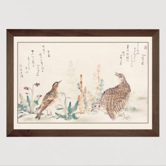 Uzura Hibari Tranh in khung kính Khung gỗ sồi