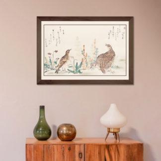 Uzura Hibari - Tranh in khung kính gỗ sồi Nhật cổ Danh họa Utamaro Kitagawa (1753-1806) 60x80 cm