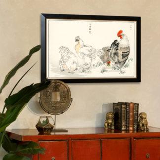 Domestic Fowl - Tranh in khung kính khung Hova Danh họa Numata Kashu (1838-1901) 60x90 cm