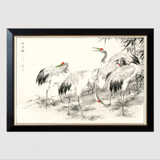 Japanese Crane and Bamboo - Tranh in khung kính khung Hova