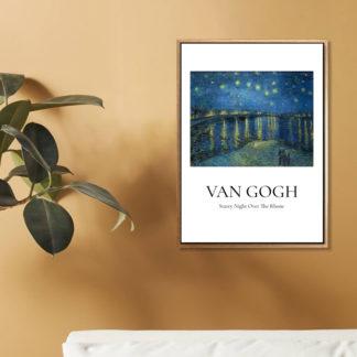 Starry Night Over The Rhone - Tranh khung kính treo tường danh hoạ Vincent van Gogh 50x70 cm