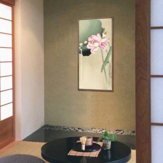 Songbird and lotus (1900-1936) - Tranh in khung kính gỗ sồi Nhật cổ Danh họa Ohara Koson 50×100cm