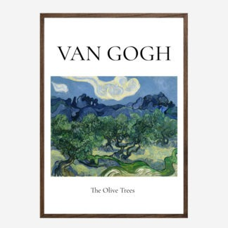 Olive Trees with the Alpilles (1889) - Tranh khung kính treo tường danh hoạ Vincent van Gogh 50x70 cm