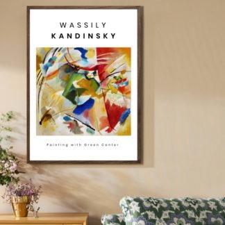 Green Center - Tranh khung kính treo tường danh hoạ Wassily Kadinsky 50x70 cm